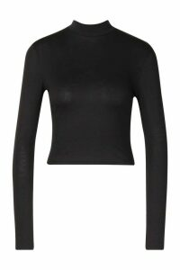 Womens Basic High Neck Long Sleeve Top - black - 8, Black