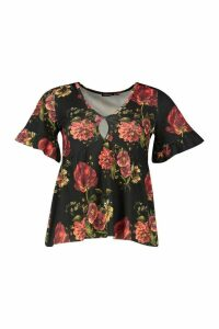 Womens Rose Floral Keyhole Smock Top - black - 10, Black