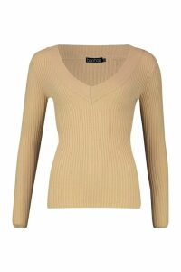 Womens Rib Knit V Neck Jumper - beige - L, Beige