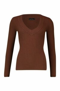 Womens Rib Knit V Neck Jumper - beige - XS, Beige