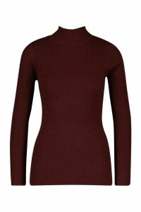 Womens roll/polo neck Rib Knit Jumper - red - XS, Red