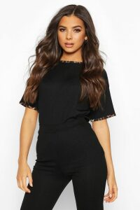 Womens Rib Leopard Ringer T-Shirt - Black - 14, Black