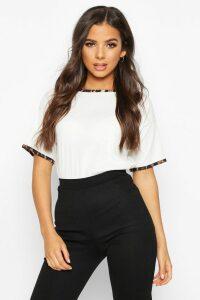 Womens Rib Leopard Ringer T-Shirt - White - 14, White