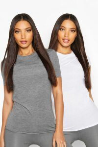 Womens Fit 2 Pack Gym T-Shirts - Grey - M, Grey