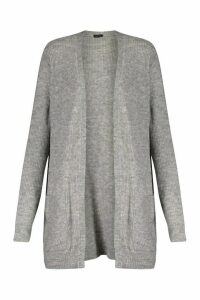 Womens Oversized Pocket Detail Cardigan - grey - L, Grey