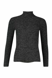 Womens Rib Knit Roll Neck Jumper - black - M, Black