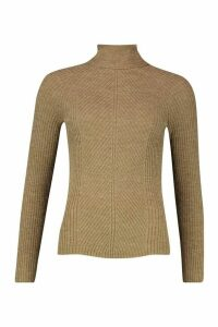 Womens Rib Knit Roll Neck Jumper - beige - XS, Beige