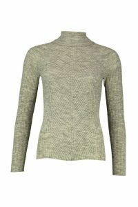 Womens Rib Knit Roll Neck Jumper - grey - S, Grey