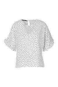Womens Frill Sleeve Polka Dot Blouse - white - 12, White