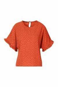 Womens Frill Sleeve Polka Dot Blouse - orange - 12, Orange