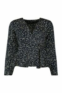 Womens Satin Spot Wrap Blouse - navy - 10, Navy