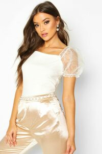 Womens Crepe Square Neck Organza Sleeve Top - White - 6, White