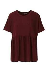 Womens Soft Ribbed Smock Top - red - 16, Red