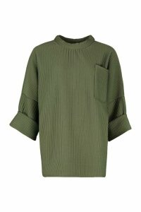 Womens Oversized Slouch Pocket Top In Jumbo Jersey - green - S, Green