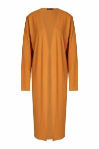 Womens Ribbed Midi Cardigan - orange - 6, Orange