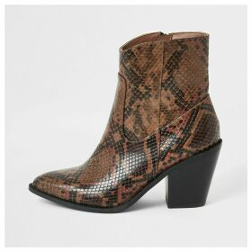 River Island Womens Brown snake print western ankle boots
