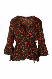 Womens Woven Cherry Print Wrap Ruffle Blouse - black - 8, Black