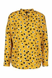 Womens Woven Animal Print Shirt - yellow - 10, Yellow