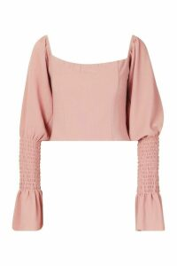 Womens Shirred Sleeve Ruffle Peasant Top - pink - 14, Pink