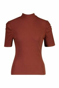 Womens High Neck Puff Sleeve Top - brown - 6, Brown