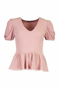 Womens Rib Puff Sleeve Front Peplum Top - pink - 10, Pink
