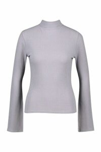 Womens Slit Sleeve Soft Rib roll/polo neck Top - silver grey - 14, Silver Grey