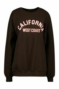 Womens California Slogan Oversized Sweatshirt - Brown - Xl, Brown