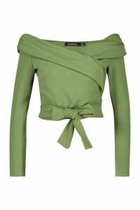 Womens Crepe Off The Shoulder Wrap Crop Top - green - 10, Green