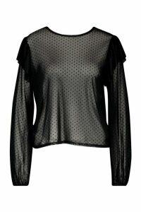 Womens Flock Mesh Ruffle Detail Blouse - black - 8, Black