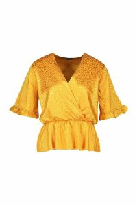 Womens Leopard Satin Ruffle Wrap Over Peplum Blouse - yellow - 14, Yellow