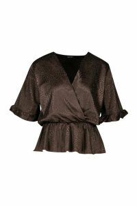 Womens Leopard Satin Ruffle Wrap Over Peplum Blouse - brown - 10, Brown