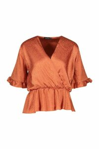 Womens Leopard Satin Ruffle Wrap Over Peplum Blouse - orange - 10, Orange