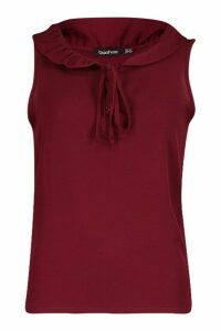 Womens Ruffle Neck Sleeveless Blouse - red - 12, Red