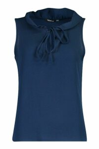 Womens Ruffle Neck Sleeveless Blouse - navy - 14, Navy