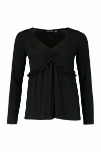 Womens Ruffle V-Neck Long Sleeved Peplum Top - black - 14, Black