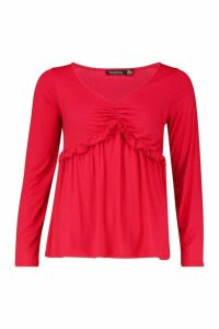 Womens Ruffle V-Neck Long Sleeved Peplum Top - red - 14, Red