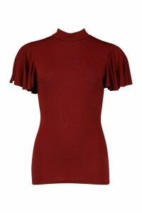Womens Angel Sleeve High Neck Top - red - 8, Red