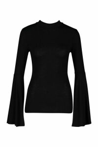 Womens Flare Sleeve High Neck Top - Black - 12, Black