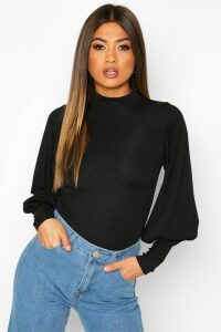 Womens High Neck Balloon Sleeve Top - black - 14, Black