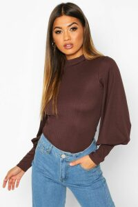 Womens High Neck Balloon Sleeve Top - brown - 14, Brown
