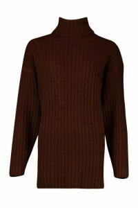 Womens Roll Neck Rib Knit Jumper - brown - L, Brown