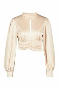 Womens Jersey Satin High Neck Long Sleeved Blouse - beige - 14, Beige