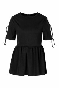 Womens Tie Sleeve Detail Smock Top - black - 6, Black