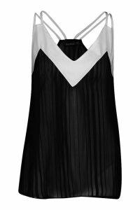 Womens Burnout Contrast Panel Camisole - black - 8, Black