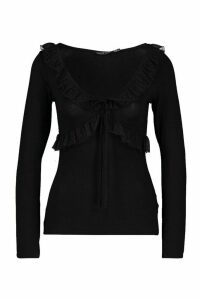 Womens Long Sleeve Dobby Spot Ruffle Top - black - 14, Black