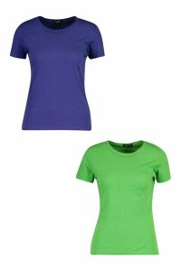 Womens 2 Pack Crew Neck 100% Cotton T-Shirts - blue - XS, Blue