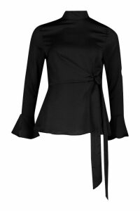 Womens Satin High Neck Wrap Frill Sleeve Blouse - Black - 10, Black