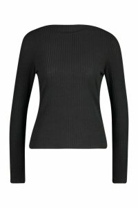 Womens Ribbed Crew Neck Long Sleeve Top - black - 12, Black