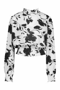 Womens Woven Floral High Ride Shirred Blouse - black - 12, Black