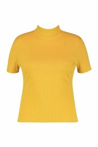 Womens Plus Cap Sleeve High Neck Crop Top - yellow - 24, Yellow